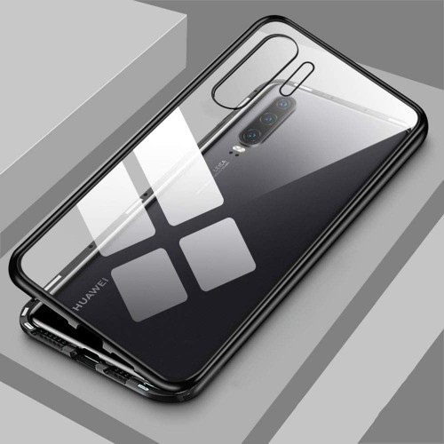 Magnetic Adsorption Metal Front & Back Case For P30 Pro Black