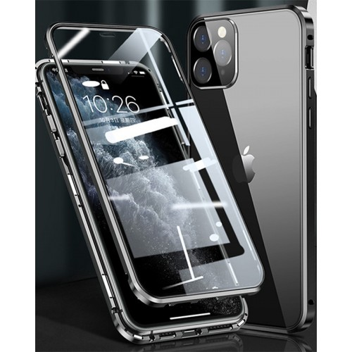 Magnetic Adsorption Metal Front & Back Case For iPhone 12 Pro Max 6.7 Silver