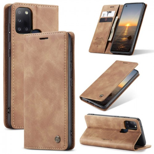 Caseme-013 Magnetic Card Case For Samsung A21S Brown