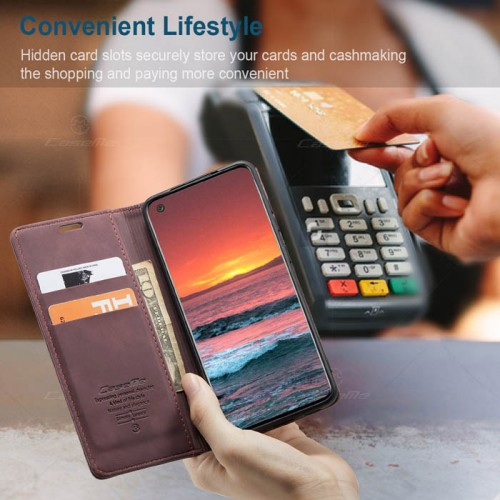 Caseme-013 Magnetic Card Case For Samsung A21S Red