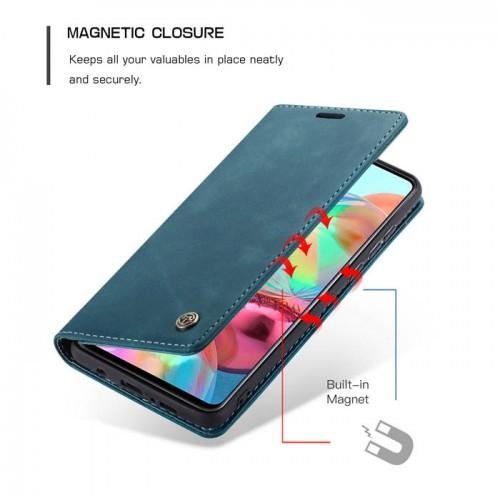 Caseme-013 Magnetic Card Case For Samsung A71 Blue
