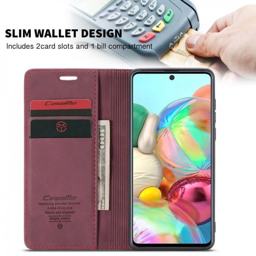 Caseme-013 Magnetic Card Case For Samsung A51 Red