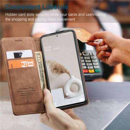 Caseme-013 Magnetic Card Case For Samsung S20 FE Brown