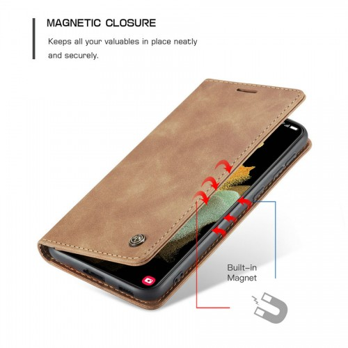 Caseme-013 Magnetic Card Case For Samsung S21 Ultra Red