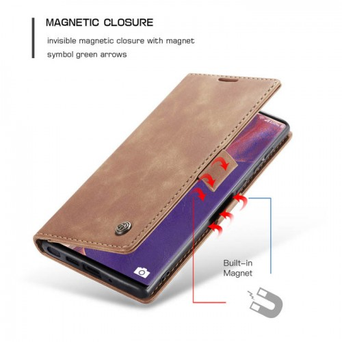 Caseme-013 Magnetic Card Case For Samsung Note 20 Ultra Brown