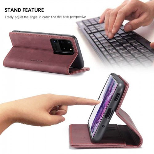 Caseme-013 Magnetic Card Case For Samsung S20 Ultra Red