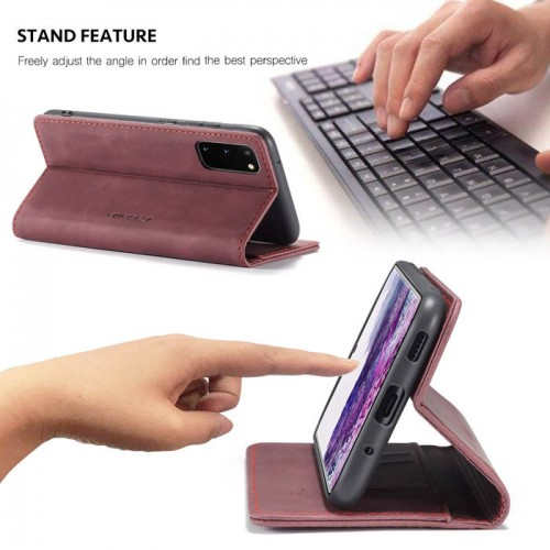 Caseme-013 Magnetic Card Case For Samsung S20 Red