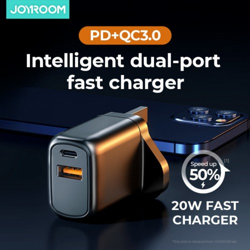 20W Dual Type-C USB 3.0 Port Fast Travel Charger Black