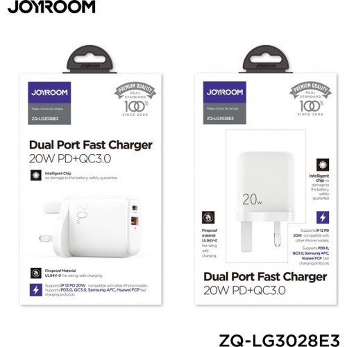 20W Dual Type-C USB 3.0 Port Fast Travel Charger White