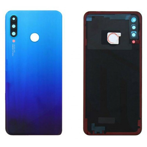 For Huawei P30 Lite Rear Glass Battery Back Cover Housing Replacement+CameraLens 24MP Blue