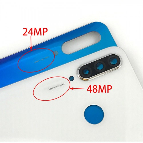 For Huawei P30 Lite Rear Glass Battery Back Cover Housing Replacement+CameraLens 24MP White