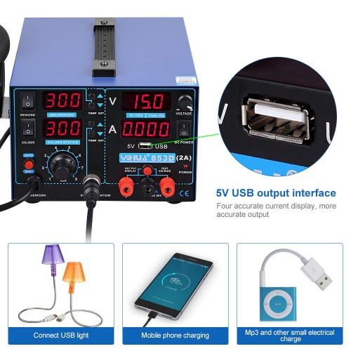 YIHUA 853D 2A 3in1 Soldering Iron USB 2A Rework Station Desolder Hot Air