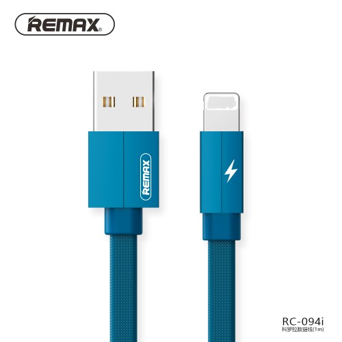 REMAX Fast-Charging Lighting Cable Durable Metal Data Cable of 2.4A For iPhone 1m Blue