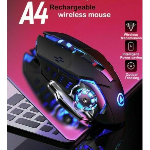 2.4G Rechargeable Wireless 1600DPI Adjustable Backlit Gaming Mouse for PC Laptop