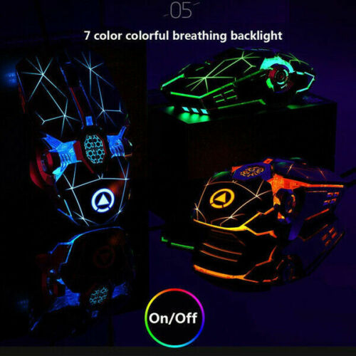 Gaming Mouse Mechanical Wired Mouse 7 Buttons Backlit Computer Mouse + LED Light Black