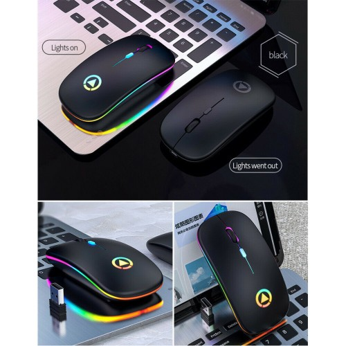 LED Wireless Rechargeable Mouse Cordless Optical Mice For PC Laptop 2.4GHz Games