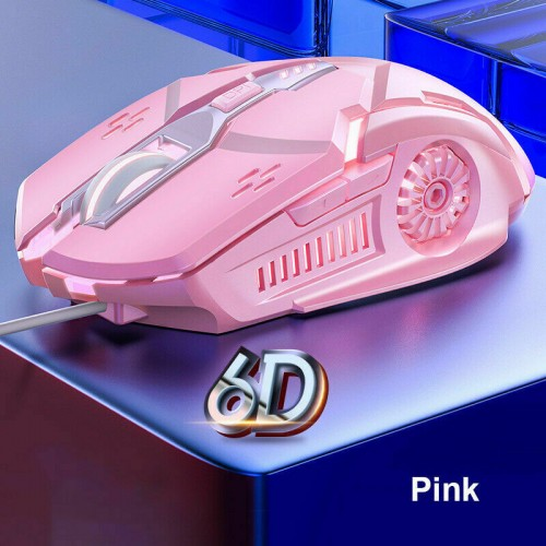 Wired LED Gaming Mouse USB Optical Mice For Pc Laptop Mac Computer Scroll Wheel Pink
