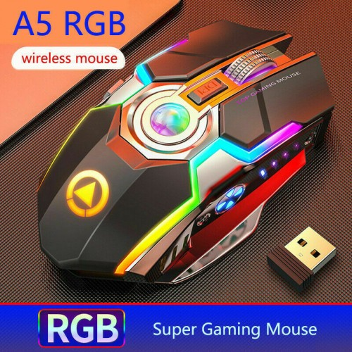 Wireless Rechargeable Gaming Mouse with 7 Colour Breathing Backlight for PC