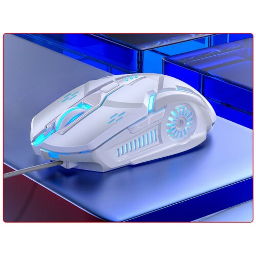 Wired LED Gaming Mouse Usb Optical Mice For Pc Laptop Mac Computer Scroll Wheel White