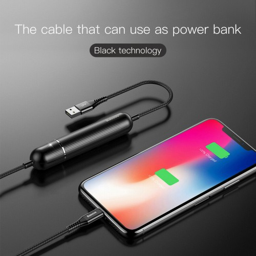 Baseus 2500mAh 2in1 USB Data Power Bank Charging Cable For iPhone 12 11 Pro XS x