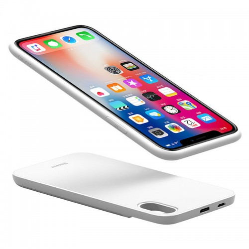 Baseus 2 in1 5000mAh Wireless Power Bank w/ Magnetic Phone Case For iPhone X White