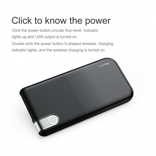 Wireless Qi Baseus 10000mAh Power Bank Charger For iPhone 8 X XS XR Samsung Black
