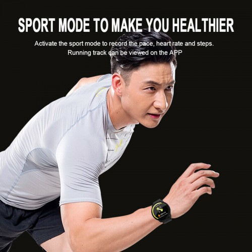 Smart Watch Tracker Fitness Blood Pressure Heart Rate For Android iOS Waterproof Black