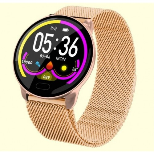 Waterproof Smart Watch Fitness Tracker Blood Pressure Heart Rate Tempered Mirror Rose Gold