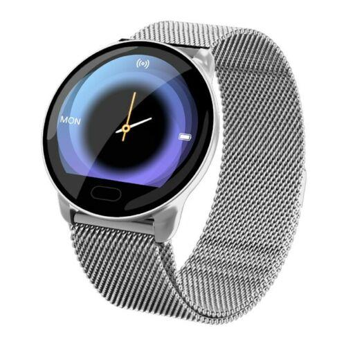 Waterproof Smart Watch Fitness Tracker Blood Pressure Heart Rate Tempered Mirror Silver