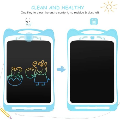 HB91 Cat Ears With lock 12 Inch Colour LCD Writing Board Blue