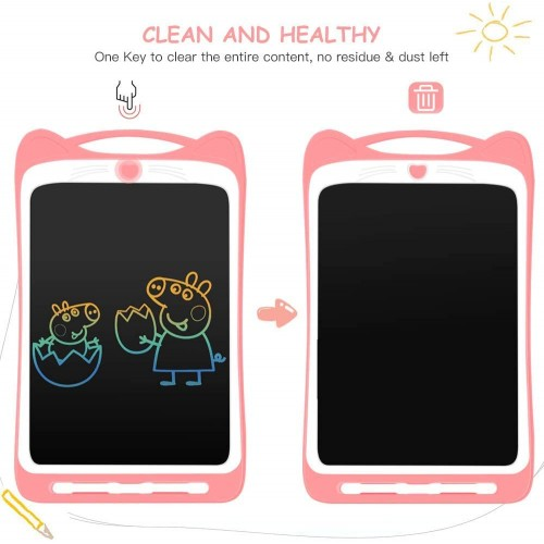 HB91 Cat Ears With lock 12 Inch Colour LCD Writing Board Pink