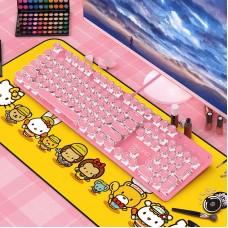 YINDIAO Gaming Mechanical Keyboard 104 Keys USB Wired Gaming Keyboard for PC Pink