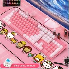 YINDIAO Gaming Mechanical Keyboard 104 Keys USB Wired Gaming Keyboard for PC White Pink