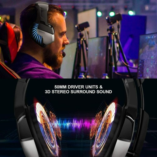 Onikuma Gaming Headphone Headset For K5 Pro LED Light Noise Cancellation Blue