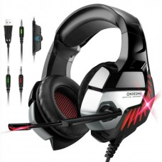 Onikuma Gaming Headphone Headset For K5 Pro LED Light Noise Cancellation Red