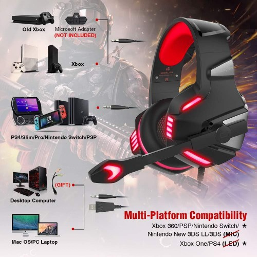 Hunterspider V3 3.5mm Gaming Headset Mic LED Headphones For PC PS4 Xbox one Pro Red