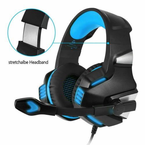 Hunterspider V3 3.5mm Gaming Headset Mic LED Headphones For PC PS4 Xbox one Pro Blue