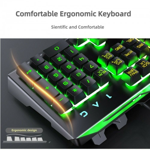 Pro Gaming Keyboard a Rainbow RGB LED Backlit Wired USB for PC Laptop PS4 Xbox