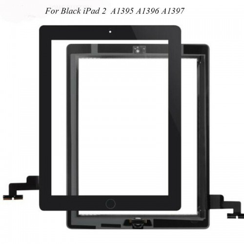 For iPad 2 Touch Screen Glass Digitizer Replacement With Home Button OEM Black