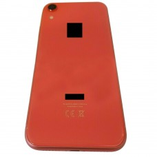 """For iPhone XR 6.1"""" Metal Frame Back Chassis Housing Rear Glass Cover Replacement Coral Red"""