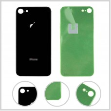 Big Hole-Rear Glass Battery Back Cover Housing Replacement For iPhone 8 Black
