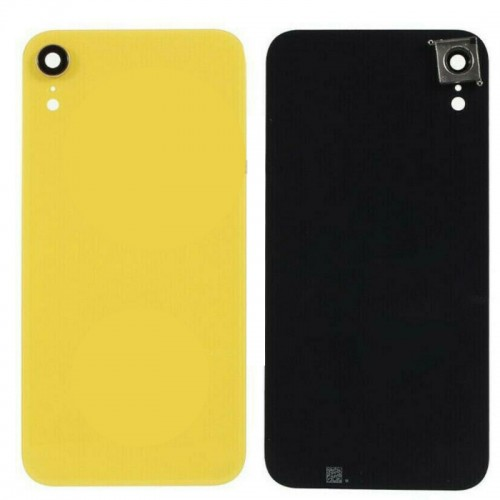 For iPhone XR Rear Glass Battery Back Door Cover Housing Replacement+Camera Lens Yellow