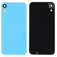 For iPhone XR Rear Glass Battery Back Door Cover Housing Replacement+Camera Lens Blue