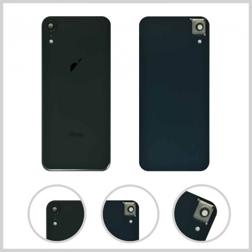 For iPhone XR Rear Glass Battery Back Door Cover Housing Replacement+Camera Lens Black