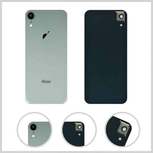 For iPhone XR Rear Glass Battery Back Door Cover Housing Replacement+Camera Lens White
