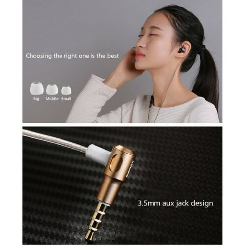 Remax RM-580 High Definition Ear Active Dual Coil Stereo Earphone Headset buds Gold