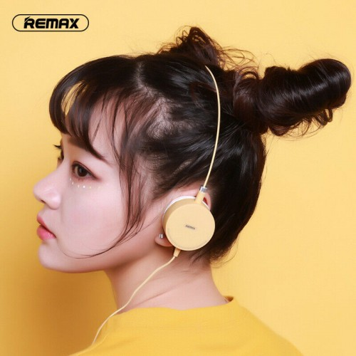 Remax 3.5mm Wired Candy Color Headphones Over Ear Fashion Headsets For Teenagers Yellow