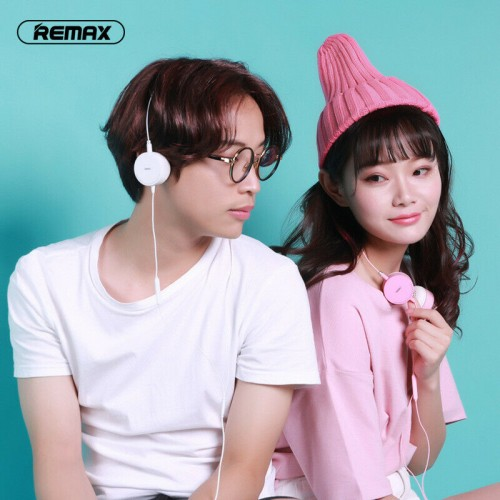 Remax 3.5mm Wired Candy Color Headphones Over Ear Fashion Headsets For Teenagers White