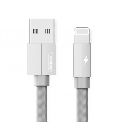 REMAX Fast-Charging Lighting Cable Durable Metal Data Cable of 2.4A For iPhone 1m White