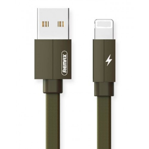 REMAX Fast-Charging Lighting Cable Durable Metal Data Cable of 2.4A For iPhone 1m Green